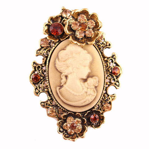 D-CHEER Fiona Vintage Elegant Cameo Brooch Pin Jewelry