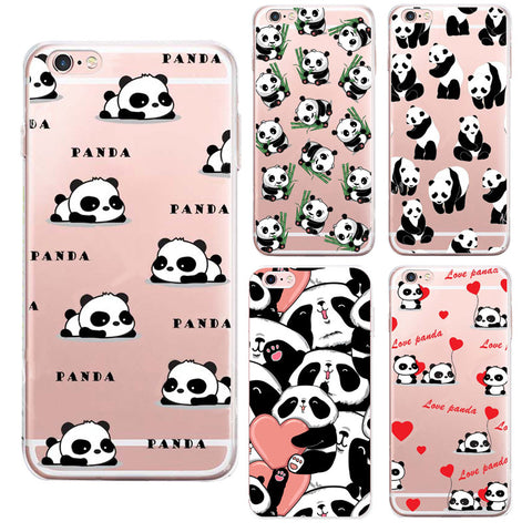 Cute Animation Panda Soft Silicone Cover For iPhone
