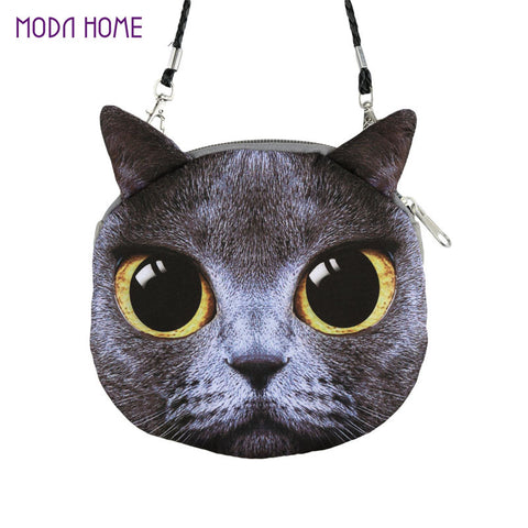 Baggra Cat face Print Pouch Bag