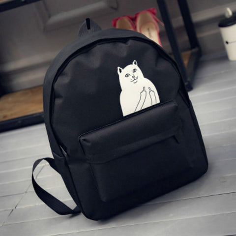 BS.banghuashi Japanese Cat School Canvas Backpack