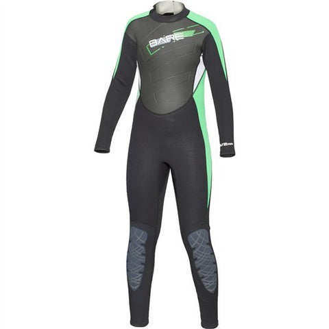Bare 3/2mm Manta Wet Suits Children / Black / Green / 10