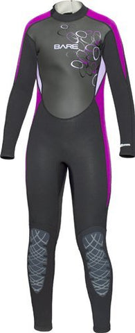 Bare 3/2mm Manta Wet Suits Children / Black / Purple / 6