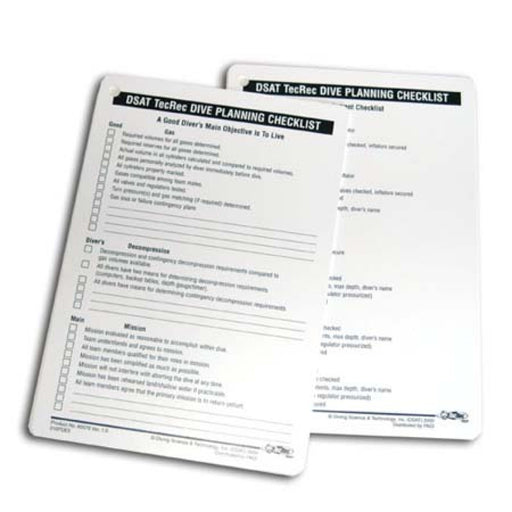 PADI TecRec Checklist Slates (2) Educational Materials