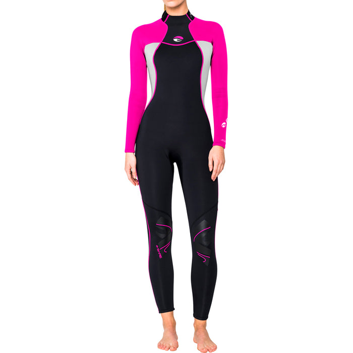 Bare 3/2mm Nixie Full Wetsuit / Pink / Black / 8