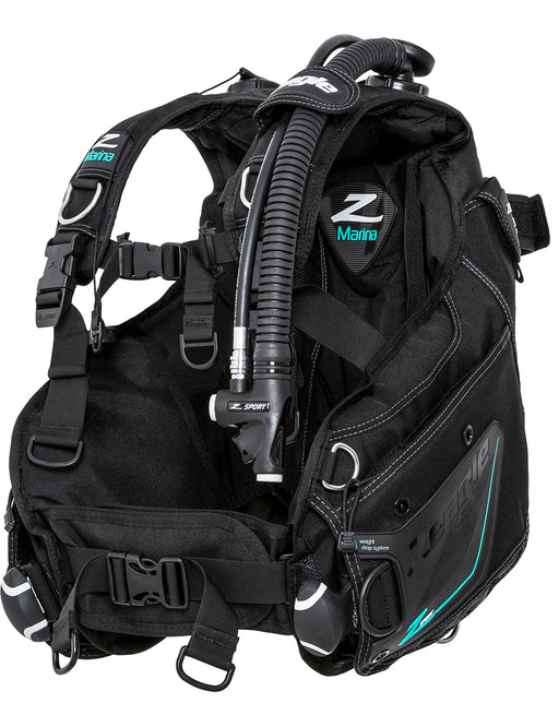 Zeagle Marina w/Inflator, Hose, and RE Valve BCD / Black / Aqua / M