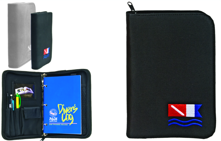 Innovative Low Profile Dive Flag Binder Log Book / Black / Blue