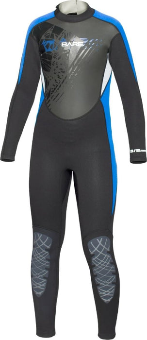 Bare 3/2mm Manta Wet Suits Children / Black / Blue / 12
