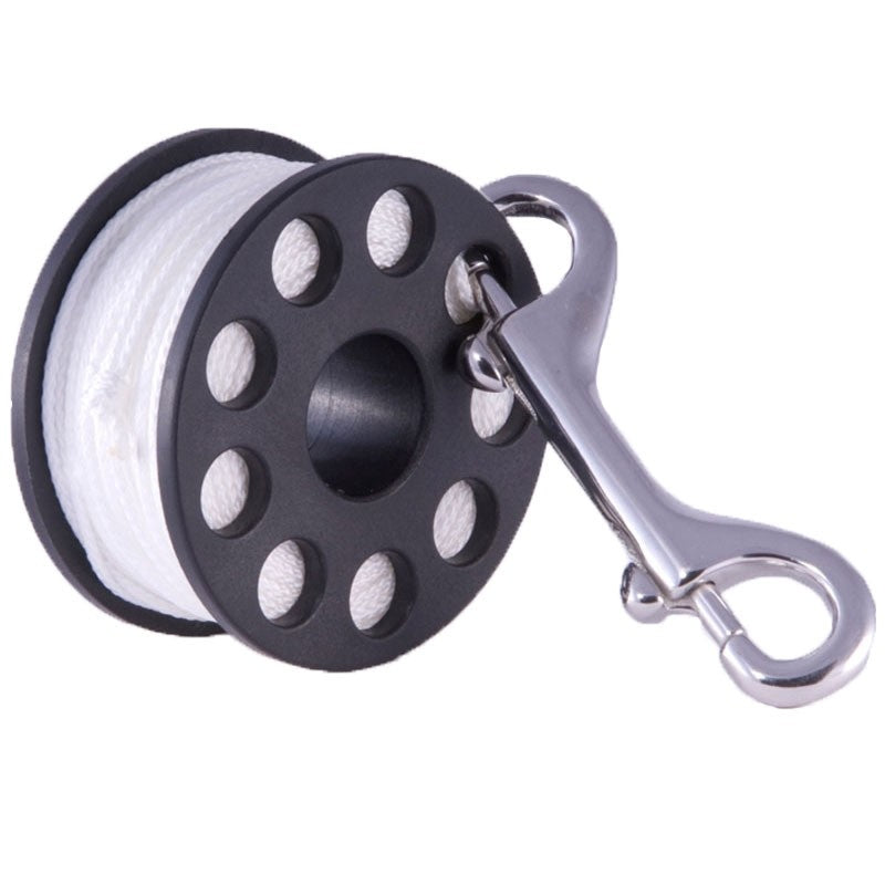 Hollis Finger Spool Plastic w/SS Double Ended Clip Reel / Black / 100'