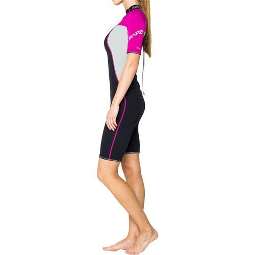 Bare 2mm Nixie Shorty Wetsuit Women / Pink / Gray / 6 - Dive Toy