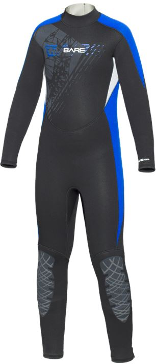 Bare 7/6mm Manta Full Wetsuit / Blue / Black / Youth 8