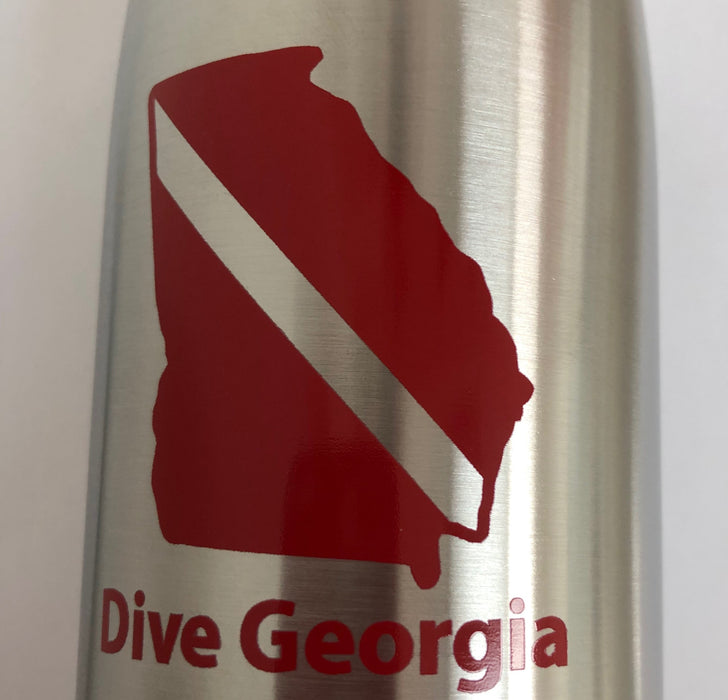 Stainless Steel Vac Bottle- Dive Georgia Accessory / Silver / Red / 16oz