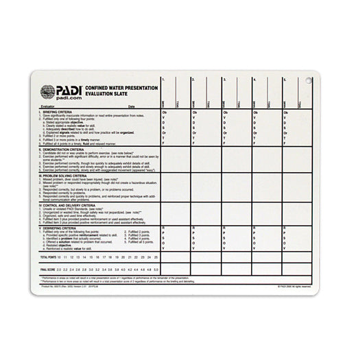 PADI Confined water evaluation slate Educational Materials