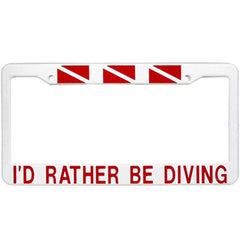 Innovative Licence Plate frame ''I'D RATHER BE DIVING'' Accessories