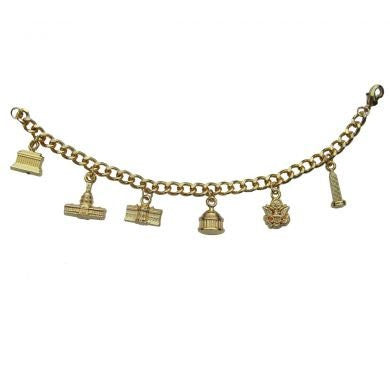 Golden Charm Bracelet with Washington, DC Monuments - 6 inch