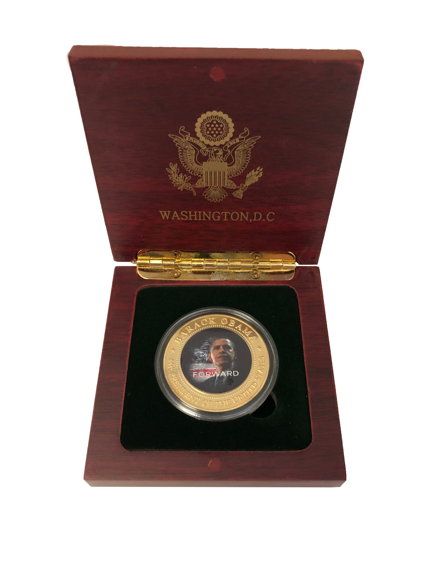 Barack Obama Blue Inaugural Coin in Wood Box