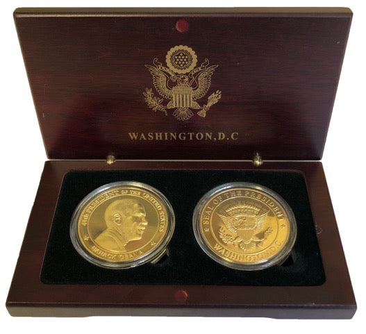 Barack Obama and Great Seal Coins in Wood Box