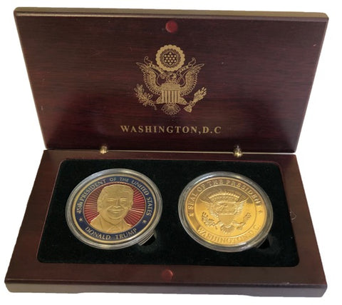 President Trump and Great Seal Coins in Wood Box