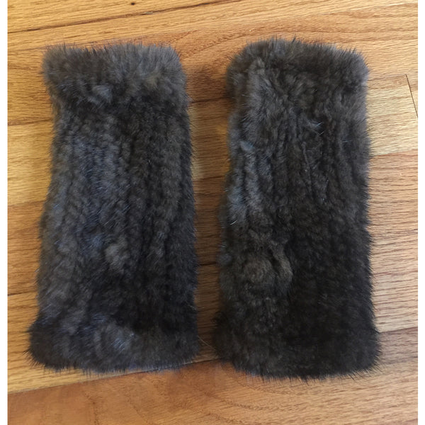 BROWN MINK FINGERLESS GLOVES