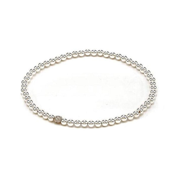 3mm Ball Bead Stretch Bracelet with Diamond Bead
