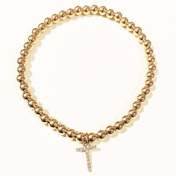 4mm Ball Bead Stretch Bracelet with Diamond T Initial