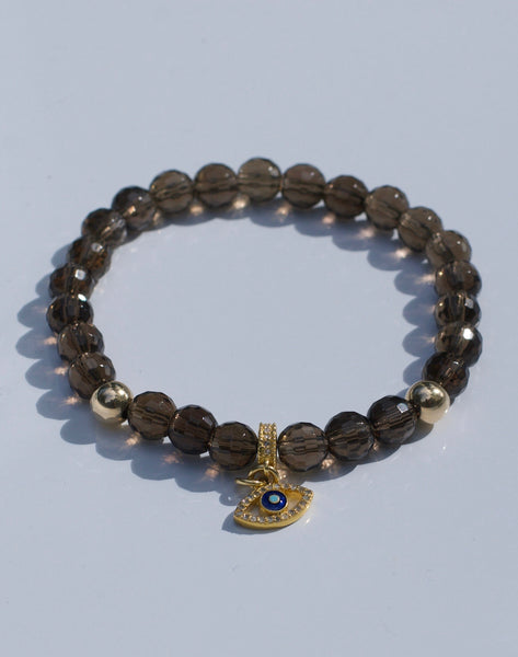 SMOKY TOPAZ WITH DIAMOND EVIL EYE BRACELET
