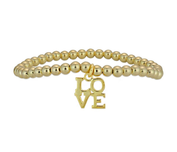 LOVE GOLD BALL BEAD BRACELET