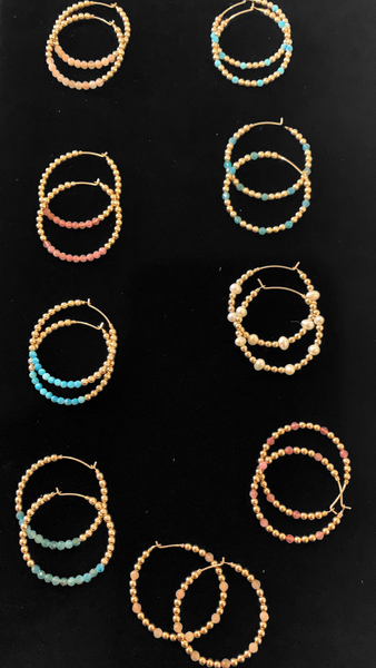 Gold Ball Hoop Earrings with Stones