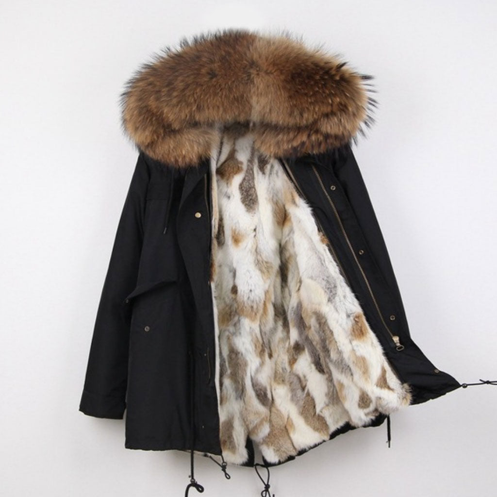 Natural Multi Rabbit Fur Lined Waterproof Parka