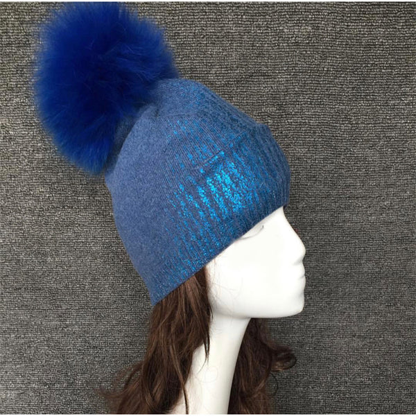 Metallic Slouchy Wool Pom Hat