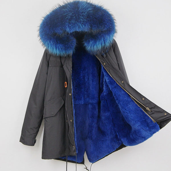 Blue Rabbit Fur Lined Waterproof Parka