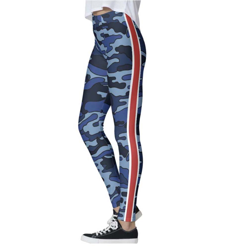 Blue Camo Racing Stripe Legging