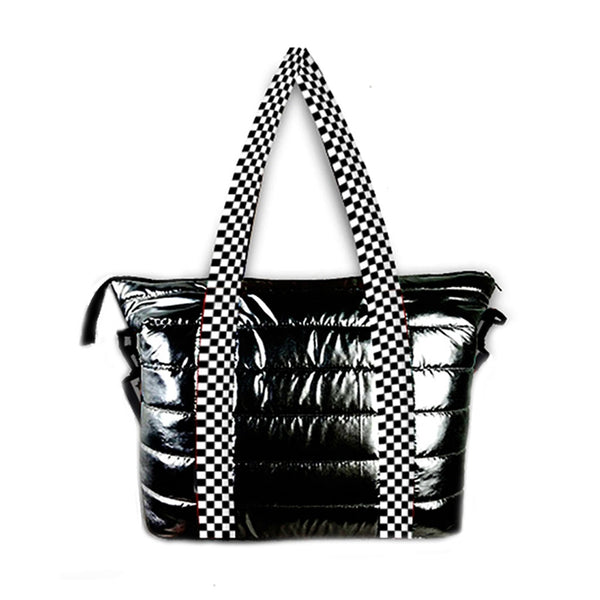 Checker Strap Metallic Puffer Tote