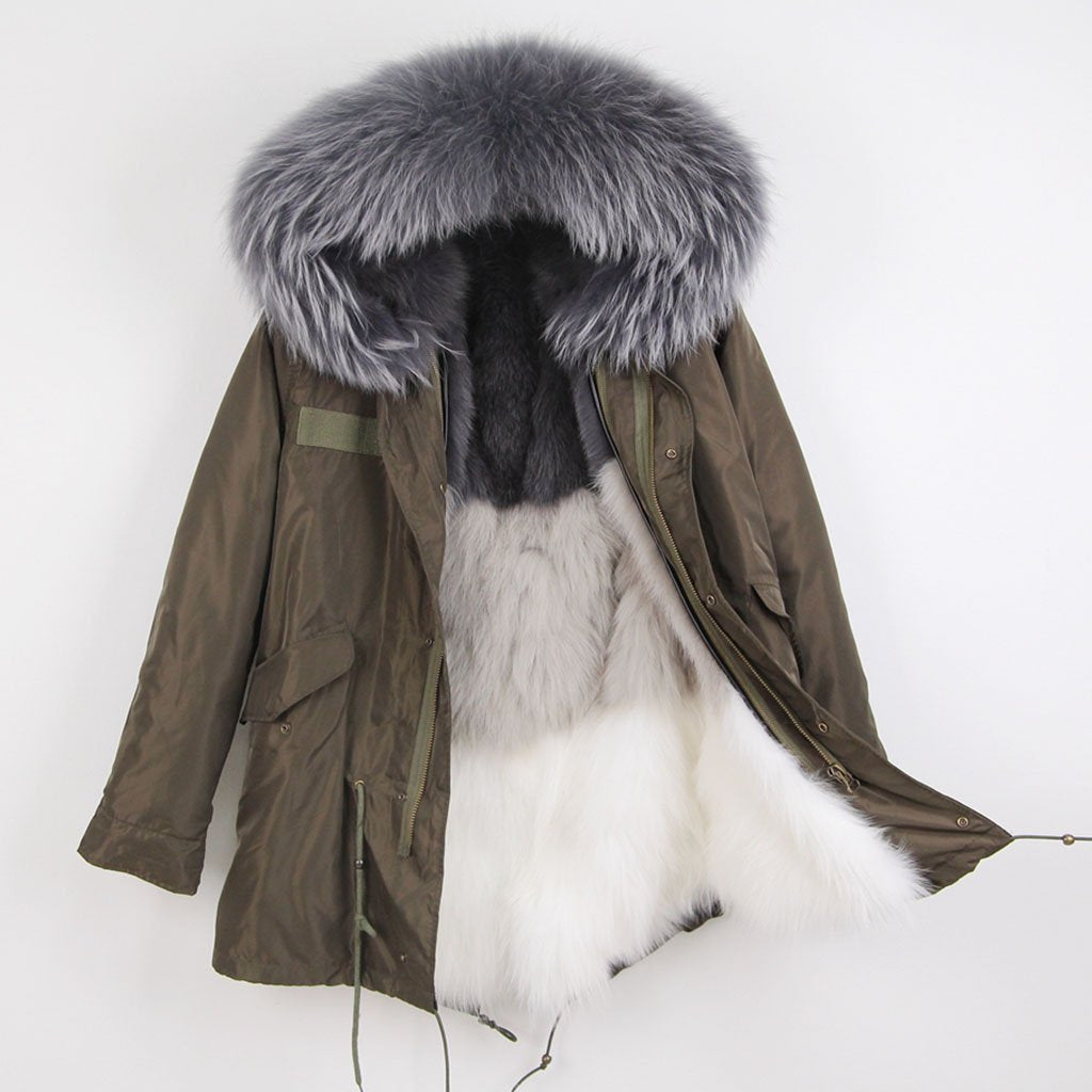 Grey Color Block Fox Fur Lined Waterproof Parka