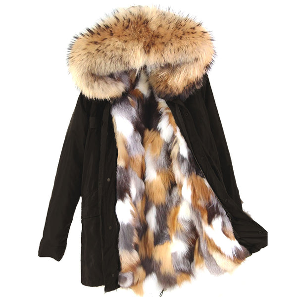 Black Waterproof Long Parka with Natural Fox Fur Lining SAMPLE - LARGE