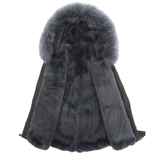 Grey Parka with Grey Faux Fur Lining - Sample XS Long