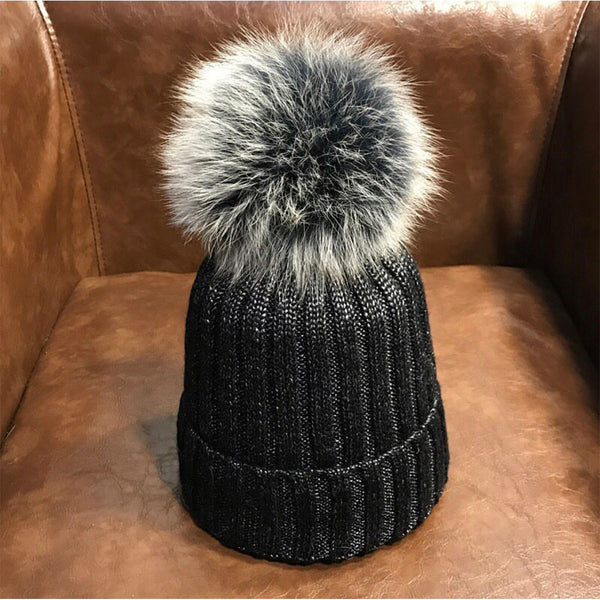 Metallic Knit Fur Pom Hat