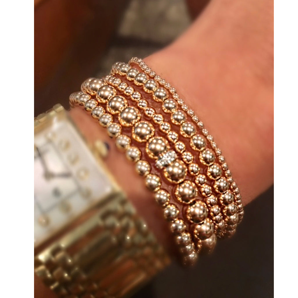 5 Stack Bead Bracelet with Diamond Bead