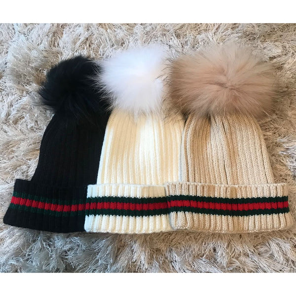 Stripe Knit Fur Pom Hat