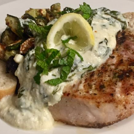 Zesty Grilled Pork Chop w/ Roasted Zucchini and Lemon Ricotta Spinach Sauce