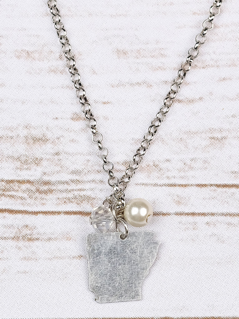 Arkansas Necklace with Crystal and Pearl Charms