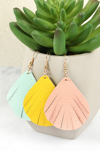 Fringed Leather Teardrop Earringss