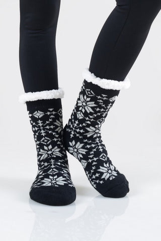 Fuzzy Snowflake Socks - LAST CALL in Black
