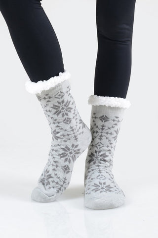 Fuzzy Snowflake Socks - more colors!