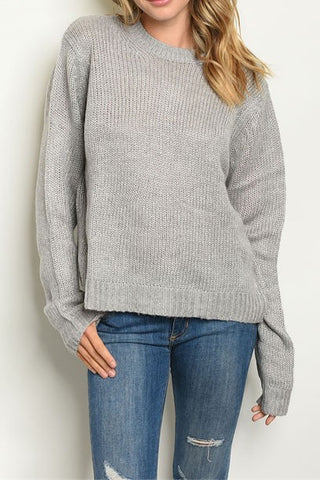 Loose Knit Box Sweater - Gray