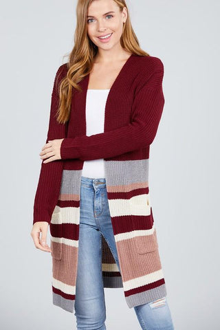 LAST CALL - Multi Stripe Cardigan with Pockets - Burgundy Small