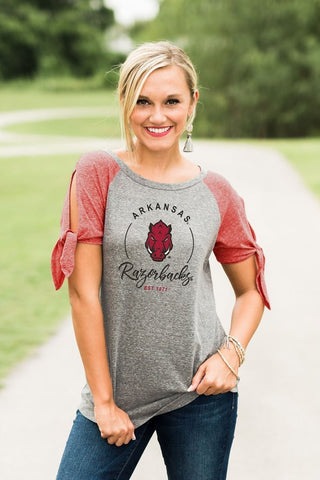 LAST CALL - Arkansas Tie Sleeve Raglan - Size S