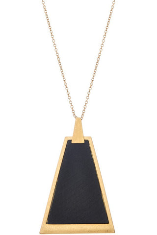 Not so Square Wooden Pendant Necklace