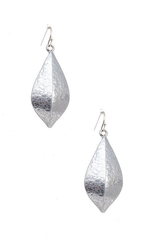 Hammered Silver Marquis Earrings