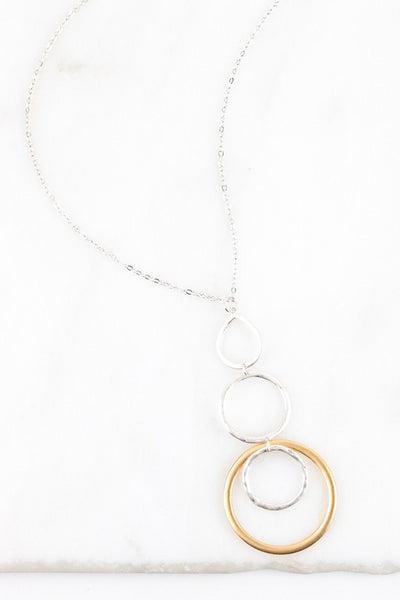 Long Hammered Multi Circle Necklace