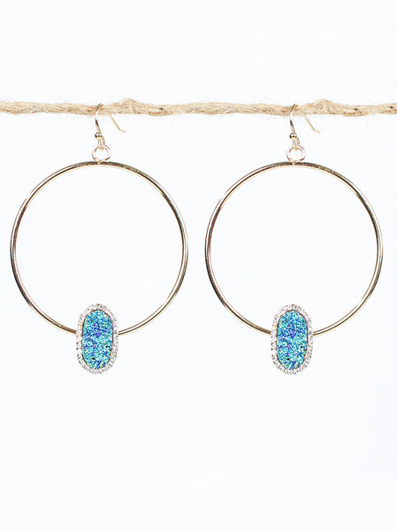 Druzy on Hoop Earrings